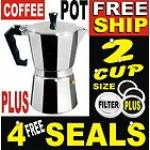 2 Cup Aluminium Moka Expresso Coffee Pot Maker