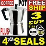 3 Cup Aluminium Moka Expresso Coffee Pot Maker