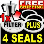 4x 3 Cup Seals +Filter for Bialetti Moka Express Coffee Pot