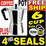 6 Cup Aluminium Moka Expresso Coffee Pot Maker