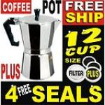 12 Cup Aluminium Moka Expresso Coffee Pot Maker